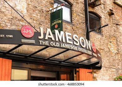DUBLIN, IRELAND - JULY 12, 2016: Entrance to the Old Jameson Distillery, Smithfield Square in Dublin, Ireland. The original site where Jameson Irish Whiskey was distilled until 1971