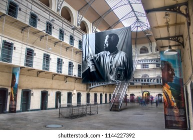 Dublin, Dublin / Ireland - July 12 2018: A photo of the inside of Kilmainham Gaol in Dublin before the opening of the Nelson Mandela Exhibit to be visited later that day by President Michael D Higgins