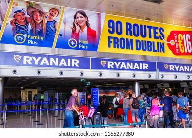 DUBLIN, IRELAND - JULY 14, 2018: Check in hall of Dublin international.