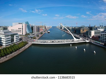 Dublin, Ireland - July 18th 2018: Samuel Beckett Bridge aerial view from River Liffey