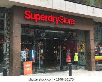 Dublin, Ireland, July 20, 2018: Superdry Storefront