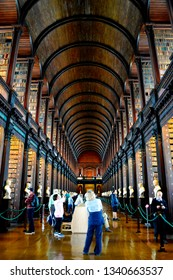 Dublin, Ireland, July, 2016. Interior of the Old Library, Trinity College Dublin, which is famous for The Book of Kells.