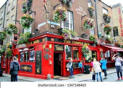 Dublin, Ireland, July 2016. Street View of Temple Bar, Famous Historical Pub in Dublin, Ireland.