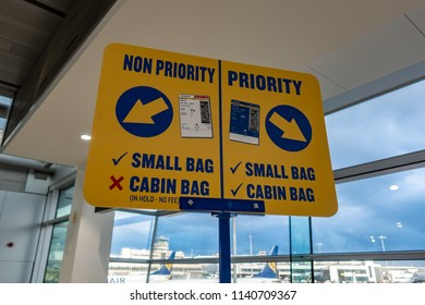 Dublin / Ireland - July 23 2018: Ryanair priority and non priority sign at boarding gate, Dublin airport
