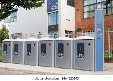 Dublin, Ireland July 26 2019:  CycLok Access Controlled Modular Bike Parking Lockers in Tallaght