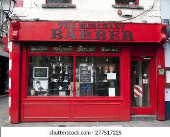 DUBLIN, IRELAND - JULY 3, 2013 : Barber shop facade on July 3, 2013 in Dublin, Ireland.