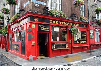 Dublin, Ireland - June 16, 2012: Famous pub in the Temple Bar district in Dublin, Ireland.