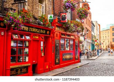 DUBLIN, IRELAND - June 16, 2018: Famous irish Temple bar