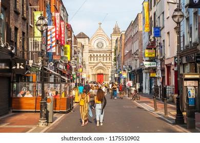 DUBLIN, IRELAND - June 17, 2018: Picturesque South Anne Street and St Ann's Church