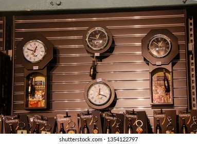 DUBLIN, IRELAND - JUNE 19, 2008: Showcase of souvenir shop at The Guinness Brewery in Dublin, Ireland on June 19, 2008. The Brewery was founded by Arthur Guinness in 1759.