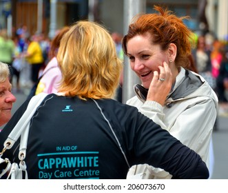 DUBLIN, IRELAND - JUNE 2: Charity participants at The Flora Dublin Women's Mini-Marathon at St. Stephen's Green on June 2, 2014 in Dublin, Ireland. Over 40,000 people attended the event.