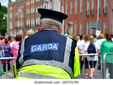 DUBLIN, IRELAND - JUNE 2: A Garda on foot duty at the start of The Dublin Women's Mini-Marathon on June 2, 2014 in Dublin, Ireland.