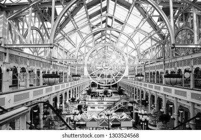 DUBLIN, IRELAND - JUNE 22, 2008: Stephen's Green Shopping Centre with transparent roof, centrally located in the heart of the most prestigious shopping area in Dublin, Ireland on June 22, 2008.