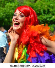 DUBLIN, IRELAND - JUNE 28: A participant at the Dublin Pride Parade on June 28, 2014 in Dublin, Ireland. The free street event was attended by over 40,000 people.