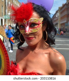 DUBLIN, IRELAND - JUNE 28: An unidentified, costumed participant at the Dublin Pride Parade on June 28, 2014 in Dublin, Ireland. Over 40,000 people attended the free, open air event.
