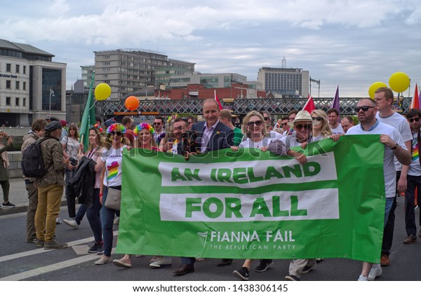 DUBLIN, IRELAND – JUNE 29, 2019: Michael Martin (Taoiseach - Head of Irish Government since 2020) and other members of the Fianna Fail party at the Dublin LGBTQ Pride Festival in 2019.