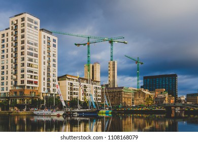 DUBLIN, IRELAND - June 2nd, 2018: view of Grand Canal Dock in Dublin on a stormy day