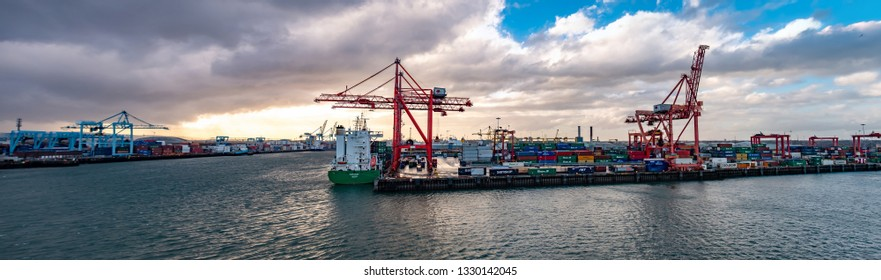 DUBLIN / IRELAND- MARCH 03 2019: Container cranes working at Dublin port.