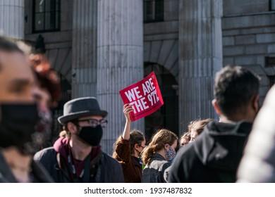 Dublin, Ireland - March 16 2021: Sarah Everard Rosa Socialist Feminist Protest at Dublin