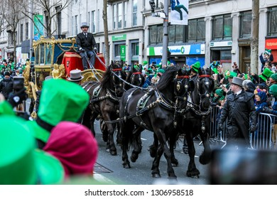 Dublin, Ireland - March 17, 2018: Man in Uniform with Stages on the St Patrick Day Parade
