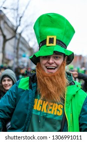 Dublin, Ireland - March 17, 2018: People in the Green Costumes on the Parade