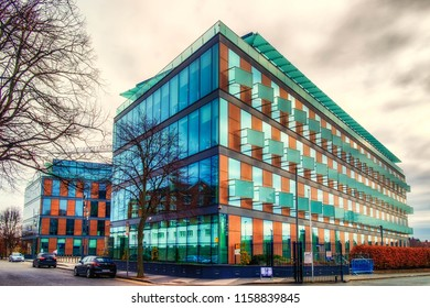 Dublin, Ireland, March 2018,outside the Minerva House a modern office building.