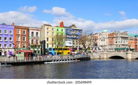 DUBLIN, IRELAND - MARCH 29, 2013: View of Dublin quays along the river Liffey.
