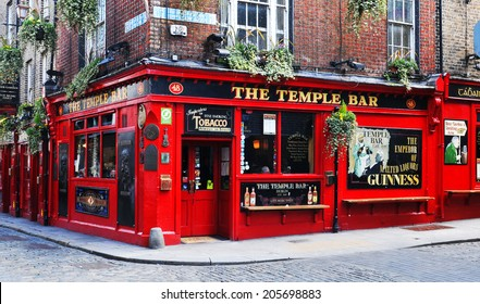DUBLIN, IRELAND - MARCH 30, 2013: Temple Bar is a famous landmark in Dublins cultural quarter visited by thousands of tourists every year.