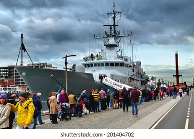 DUBLIN, IRELAND - MAY 18: The newly commissioned Irish Naval Service Vessel LE Samuel Beckett on her maiden visit to Dublin on May 18, 2014 in Dublin, Ireland.
