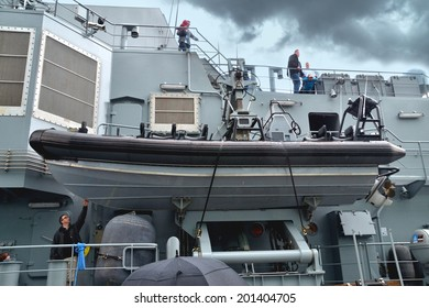 DUBLIN, IRELAND - MAY 18: The portside RIB of the newly commissioned Irish Naval Service Vessel LE Beckett on her maiden visit to Dublin on May 18, 2014 in Dublin, Ireland.