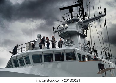 DUBLIN, IRELAND - MAY 18: Unidentified visitors aboard the newly commissioned Irish Naval Service vessel LE Samuel Beckett on her maiden visit to Dublin on May 18, 2014 in Dublin, Ireland.