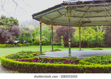 DUBLIN, IRELAND - May 1st, 2018: detail of St Stephen's Green park in DUblin city centre, featuring the Bandstand and spring plants