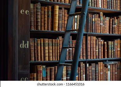 DUBLIN, IRELAND - MAY 2018: A part of the Long Room in the Trinity College Library. Trinity College Library is the biggest library in Ireland and home to The Book of Kells.
