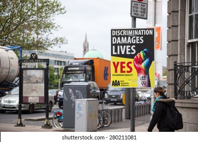 DUBLIN, IRELAND - MAY 21, 2015: Referendum Campaign Posters for Thirty-fourth Amendment of the Constitution (Marriage Equality)
