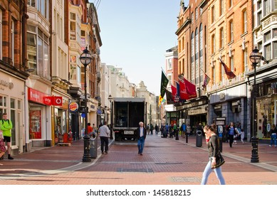DUBLIN, IRELAND - MAY 25: Grafton Street on May 25, 2013 in Dublin, Ireland. Grafton Street is one of the two principal shopping streets in Dublin city centre.