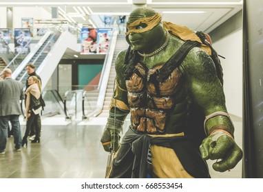 Dublin, Ireland May 26, 2016  Teenage mutant ninja turtles figure in cinema