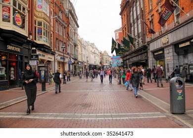 DUBLIN, IRELAND-- MAY 28, 2012: Grafton St, the busy high street in Dublin Grafton Street.