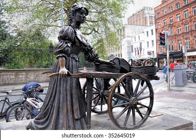 DUBLIN, IRELAND-- MAY 28, 2012: The Molly Malone statue in Grafton Street, is a popular song, set in Dublin, Ireland, which has become the unofficial anthem of Dublin City.