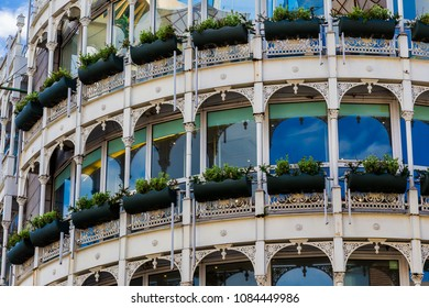 DUBLIN, IRELAND - May 5th, 2018: Stephen's Green shopping centre's architecture in Dublin city centre on a spring day, close-up shot