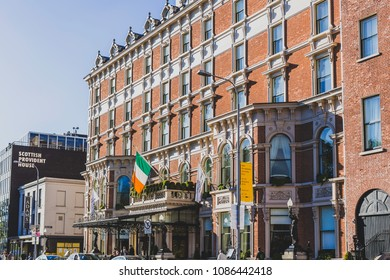 DUBLIN, IRELAND - May 6th, 2018: exterior of the Shelbourne Hotel in Dublin city centre