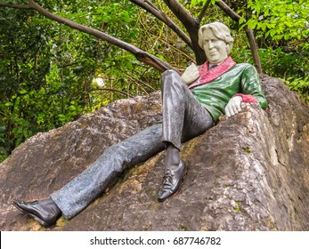 DUBLIN, IRELAND - NOVEMBER 06, 2013: Sculptures at Merrion Square, near House of Oscar Wilde in Dublin, Ireland