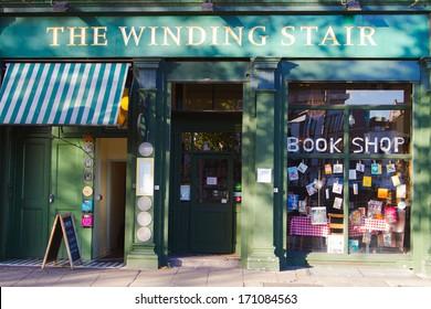 DUBLIN, IRELAND - NOVEMBER 11: Facade of a book shop in Dublin, Ireland on November 11, 2013. Bookstore with a good interior design to attract customers.