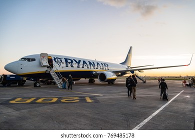 Dublin, Ireland - November 12, 2017: Ryanair Boeing 737-800 airplane in the runaway of the Dublin Airport short before take off at sunset