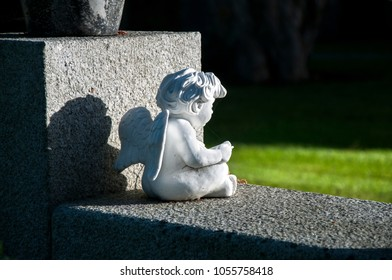 DUBLIN. IRELAND - November 12 , 2017:The little angel on the grave on the Glasnevin cemetery