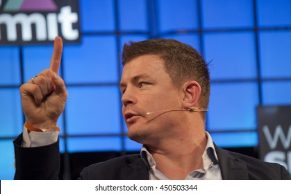 DUBLIN, IRELAND - NOVEMBER 2015: Former Irish rugby international player Brian O' Driscoll speaks at the Web Summit in the Royal Dublin Society.