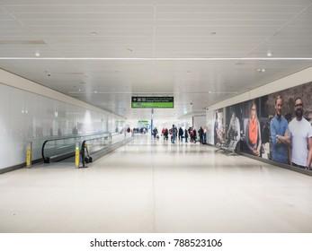 Dublin, Ireland - November 2017: Travelers at Dublin Airport: this is an international airport serving Dublin, the capital city of Ireland.