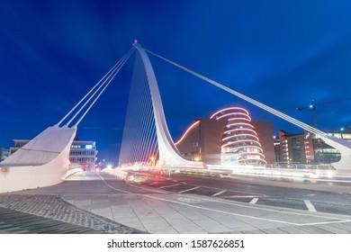 Dublin, Ireland - November 5, 2019: Night view on Samuel Beckett Bridge.