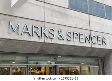 Dublin, Ireland - November 5, 2019: Logo of Marks & Spencer.
