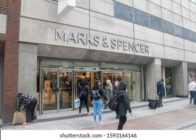 Dublin, Ireland - November 5, 2019: Marks & Spencer shop. M&S or colloquially Marks and Sparks is a major British multinational retailer with headquarters in Westminster, London.