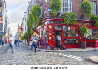 Dublin, Ireland - Oct 18, 2014: People around The Temple Bar in Dublin, Ireland on October 18, 2014